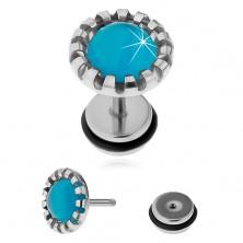 Stalowy fałszywy plug do ucha, syntetyczny kamień - kocie oko jasnoniebieskiego koloru