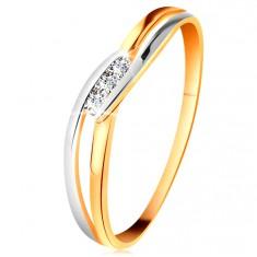 Diamentowy pierścionek z 14K złota, trzy bezbarwne brylanty, rozdzielone faliste ramiona