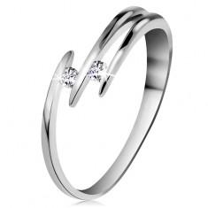 Brylantowy pierścionek z białego 14K złota - dwa błyszczące bezbarwne diamenty, cienkie linie ramion