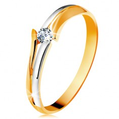 Diamentowy złoty pierścionek 585, błyszczący bezbarwny brylant, rozdzielone dwukolorowe ramiona