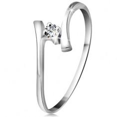 Złoty pierścionek 585 - błyszczący bezbarwny brylant, cienkie zagięte ramiona, białe złoto