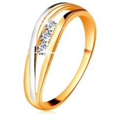 Brylantowy pierścionek z 14K złota, faliste dwukolorowe linie ramion, trzy przezroczyste diamenty