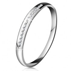 Brylantowy pierścionek z białego 14K złota - błyszcząca linia drobnych bezbarwnych diamentów