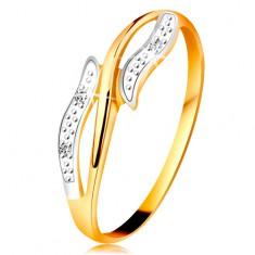 Diamentowy pierścionek z 14K złota, faliste dwukolorowe ramiona, trzy bezbarwne diamenty