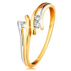 Diamentowy złoty pierścionek 585, trzy błyszczące przezroczyste brylanty, rozdzielone dwukolorowe ramiona