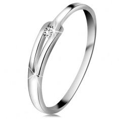 Brylantowy pierścionek z białego 14K złota - błyszczący bezbarwny diament, wąskie rozdzielone ramiona