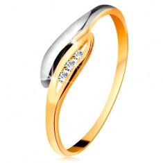 Złoty diamentowy pierścionek 585 - dwukolorowe zagięte listki, trzy przezroczyste brylanty