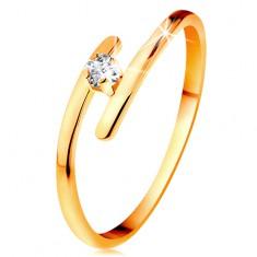 Diamentowy pierścionek z żółtego 14K złota - błyszczący bezbarwny brylant, cienkie przedłużone ramiona