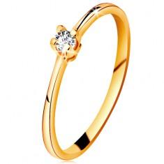 Złoty pierścionek 585 - błyszczący przezroczysty brylant w czteroramiennym koszyczku, zwężone ramiona