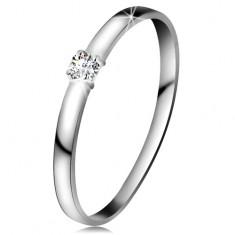Brylantowy pierścionek z białego 14K złota - brylant bezbarwnego koloru, lśniące ramiona