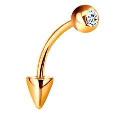 Piercing z żółtego 9K złota - zagięta tyczka z kuleczką i stożkiem, bezbarwna cyrkonia