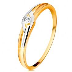 Diamentowy pierścionek z 14K złota, dwukolorowe ramiona z wycięciami, przezroczysty brylant