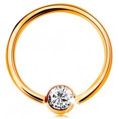 Złoty 9K piercing - lśniący krążek i kuleczka z osadzoną cyrkonią bezbarwnego koloru, 14 mm