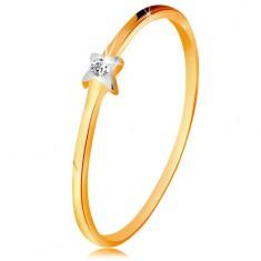 Dwukolorowy złoty pierścionek 585 - gwiazdeczka z przezroczystym brylantem, cienkie ramiona