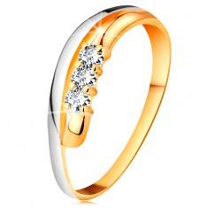 Brylantowy pierścionek z 14K złota, faliste dwukolorowe linie ramion, trzy bezbarwne diamenty