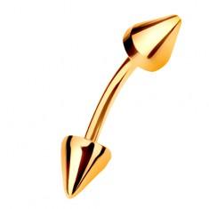Złoty piercing 375 - zagięty pręt zakończony dwoma stożkami