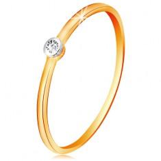 Złoty dwukolorowy pierścionek 585 - bezbarwny brylant w okrągłej oprawie, cienkie ramiona