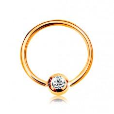 Złoty 9K piercing - lśniący krążek i kuleczka z osadzoną cyrkonią bezbarwnego koloru, 8 mm
