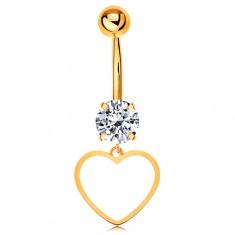 Złoty 9K piercing do brzucha - bezbarwna cyrkonia, cienki zarys symetrycznego serduszka