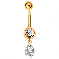 Złoty 375 piercing do pępka - okrągła cyrkonia w oprawie, wisząca cyrkoniowa łza