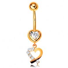 Złoty 9K piercing do brzucha - cyrkoniowe serce, zarys serduszka z błyszczącą połową