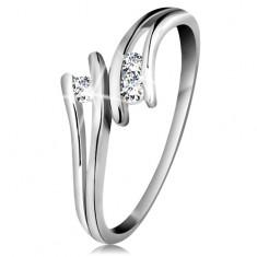 Diamentowy złoty pierścionek 585, trzy błyszczące bezbarwne brylanty, rozdzielone ramionami, białe złoto