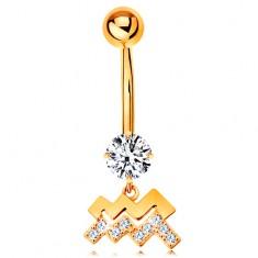 Piercing do pępka z żółtego 9K złota - bezbarwna cyrkonia, symbol znaku zodiaku WODNIK