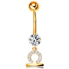 Złoty 375 piercing do brzucha - bezbarwna cyrkonia, lśniący symbol znaku zodiaku - WAGA