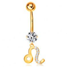 Piercing do pępka z żółtego złota 375 - bezbarwna cyrkonia, symbol znaku zodiaku - LEW