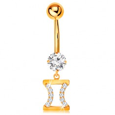 Złoty 375 piercing do brzucha - bezbarwna cyrkonia, znak zodiaku - BLIŹNIĘTA