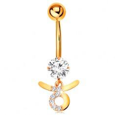 Piercing do pępka z żółtego 9K złota - bezbarwna cyrkonia, symbol znaku zodiaku BYK