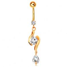 Złoty 585 piercing do pępka - dwie lśniące fale z cyrkonią w środku i łza