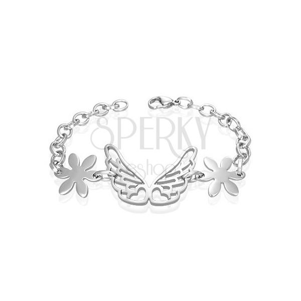 Stalowa bransoletka, anielskie skrzydła, kwiatki