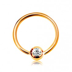 Złoty 14K piercing - lśniący krążek i kuleczka z osadzoną cyrkonią bezbarwnego koloru, 8 mm