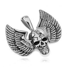 Zawieszka ze stali chirurgicznej, srebrny kolor, patynowana czaszka ze skrzydłami