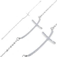 Bransoletka ze srebra 925 - błyszczący cyrkoniowy krzyżyk na łańcuszku z owalnych ogniw