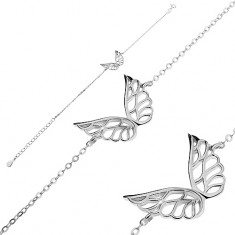 Bransoletka ze srebra 925 - powycinane anielskie skrzydła, łańcuszek z owalnych ogniw