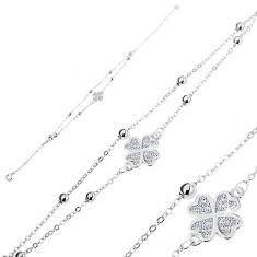 Srebrna 925 bransoletka, bezbarwna cyrkoniowa koniczynka, dwa łańcuszki z kuleczkami