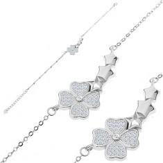 Bransoletka ze srebra 925, cyrkoniowa koniczynka i łuk z trzech gwiazdeczek