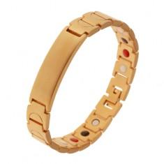 Matowa stalowa bransoletka złotego koloru, Y ogniwa, wypukła płytka, magnesy
