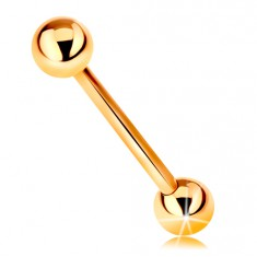 Piercing z żółtego 14K złota - pręt, dwie  lśniące gładkie kuleczki, 16 mm