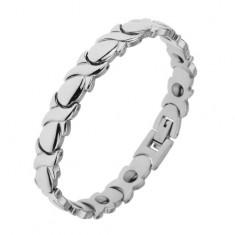 Rodowana magnetyczna bransoletka ze stali srebrnego koloru, ogniwa X i łezki