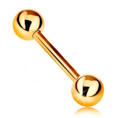 Złoty 14K piercing - lśniąca sztanga z dwiema lśniącymi kuleczkami, żółte złoto, 12 mm