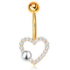 Złoty 585 piercing do brzucha - banan z kuleczką, cyrkoniowy zarys serduszka, perła