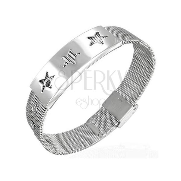 Siatkowana stalowa bransoletka - gwiazdy