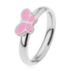Dziecięcy pierścionek ze stali chirurgicznej, srebrny odcień, motylek z różową emalią