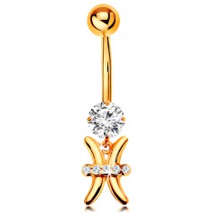 Złoty 585 piercing do brzucha - bezbarwna cyrkonia, lśniący symbol znaku zodiaku - RYBY