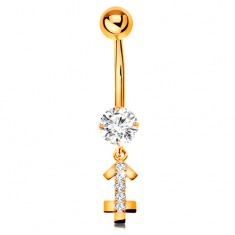 Złoty 14K piercing do brzucha - bezbarwna cyrkonia, błyszczący symbol znaku zodiaku - STRZELEC