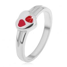 Dziecięcy pierścionek ze stali chirurgicznej, srebrny kolor, serce z czerwoną emalią