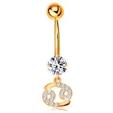 Złoty 14K piercing do brzucha - bezbarwna cyrkonia, błyszczący symbol znaku zodiaku - RAK